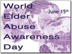 "Tomorrow, June 15, 2012 is World Elder Abuse Awareness Day (WEAAD). According to the World Health Organization, ""4% - 6% of elderly people have experienced some form of abuse in the home. The elderly are also at risk of abuse in institutions  such as hospitals, nursing homes and other longterm care facilities."" Please share & help us raise awareness!"