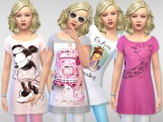 Clothing: Sleep Tee for Girls 01 by Pinkzombiecupcake from The Sims Resource • Sims 4 Downloads