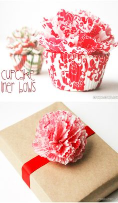 DIY cupcake liner bow tutorial Great for decorating plain wrapped gift