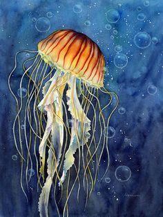 Jellyfish Painting - Jellyfish by Hailey E Herrera Little nebulas floating in water! *