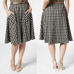 "Black/White Plaid Midi Skirt New with tags. Comes with adjustable brown belt. Black and white plaid midi skirt. Two front pockets. Side zipper. An A-line silhouette that goes great with any figure. Fabric Type: 95% Polyester, 5% Spandex. Waist measures 13.5"", length is 26""❌NO TRADES OR PAYPAL❌ JustFab Skirts Midi"