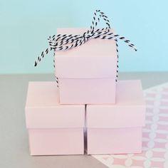 Set Of 12 Pink Mini Cube Boxes