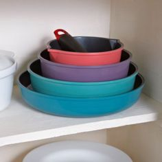 Colourful Ceramica Nesting Pan Set in pots and pans at the home of creative kitchenware, Lakeland Small Kitchen Space Savers, Kitchenware, Tableware, Pan Set, How To Cook Pasta, Food Preparation, No Cook Meals, Food Hacks, Kitchen Gadgets