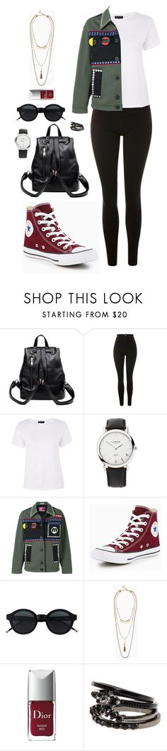 """""""Street style"""" by dalma-m ❤ liked on Polyvore featuring Topshop, Links of London, Miu Miu, Converse, Stella & Dot and Christian Dior"""