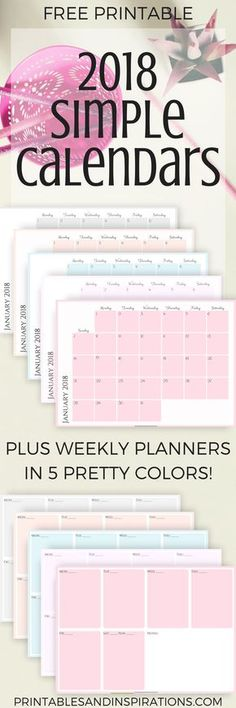 free 2018 calendars, simple calendar, monthly planner printables, weekly planner, free printables, free calendar