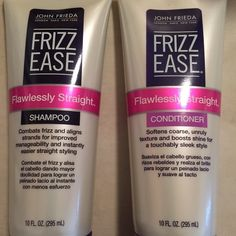 John Frieda Frizz Ease Flawlessly Straight Set Starts eliminating frizz in the shower for smooth, easy styling. Repairs the look and feel of damage as it helps seal split ends and restores hair's natural frizz defenses. Contains Frizz-Mending Complex and silk protein. John Frieda Makeup