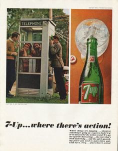 "1965 7-UP vintage magazine advertisement ""where there's action"" ~ 7-Up ... where there's action! Where things are jumping ... whenever something's going on -- expect to find 7-Up! It's a natural for the action crowd! It's got the sparkle that swings ... the taste that's fresh and frisky ... and the quick-quenching power you need to make thirst quit. Look for it. 7-Up ... where there's action! ~ Size: The dimensions of the full-page advertisement are approximately 10.5 inches x 13.5 inches…"