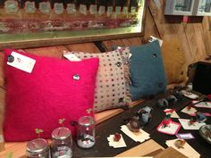 Vintage feather birds from the USA and gorgeous colour cushions