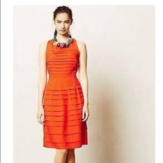 Anthropologie Dress Red-orange dress from Anthropologie. Only worn once in great condition Anthropologie Dresses Mini