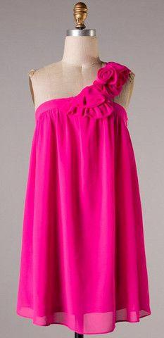 Shoulder Bouquet Dress - Fuchsia