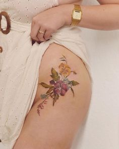 Luiza Oliveira Blackbird flower Tattoo Forget Me Not, Geraniums, Pansies, Piercing, Instagram, Blackbird, Tattoos, South America, My Style