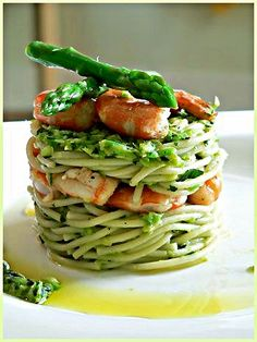 shrimp spaghetti and asparagus pesto with pine nuts, cognac, garlic, and parmesan....