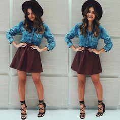 #Camisa #Jeans, #saia de #couro #godê e de quebra, um #chapéu @iraoficial