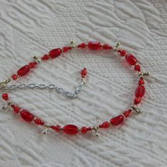 Red and Silver Beaded Ankle Bracelet by TheVelvetMannequin on Etsy, $15.00