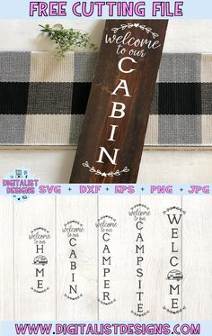 Diy Craft Projects, Diy Crafts, Craft Ideas, Cricut Svg Files Free, Cricut Fonts, Shilouette Cameo, Porch Welcome Sign, Camping Signs, Cricut Craft Room