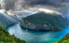Norway, fjord, sun rays, mountains, summer, HDR