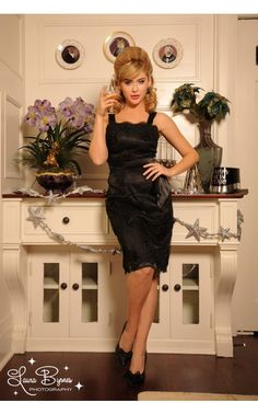 Pinup Girl Clothing- Bombshell Dress in Black Lace   Pinup Girl Clothing