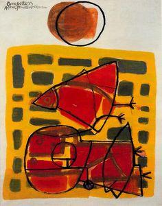 Star, Woman and Bird - Corneille - CoBrA - Gouache - 1950 Tachisme, Abstract Painters, Abstract Art, Cobra Art, Funky Art, Dutch Artists, Weird Art, Art Studies, Erotic Art