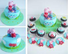 Peppa pig cake, cupcakes and cookies