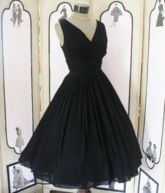 Vintage 1950s black chiffon party dress.