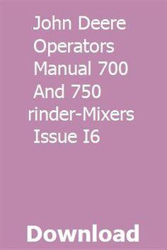 OPERATORS MANUAL FOR JOHN DEERE 34 40 MANURE SPREADER OWNERS MAINTENANCE