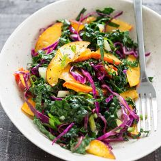 Kale, Peach and Cabbage Slaw - Delish Knowledge Carrots Healthy, Vegetarian Cabbage, Cabbage Slaw, Lime Dressing, Kale Salad, Delish, Side Dishes, Salads, Vegan Recipes