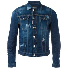 Dsquared2 stonewashed distressed denim jacket ($780) ❤ liked on Polyvore featuring men's fashion, men's clothing, men's outerwear, men's jackets, blue, mens blue jacket, mens distressed denim jacket, mens military jacket, mens distressed leather jacket and mens military style jacket