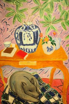 Henri Matisse - Interior with Dog. 1934 Baltimore Art Museum ive been there and this is an amaazzzzing painting! Henri Matisse, Matisse Dog, Matisse Kunst, Maurice De Vlaminck, Matisse Paintings, Animal Paintings, Raoul Dufy, Plastic Art, Post Impressionism