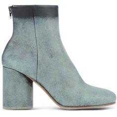 Maison Margiela 22 Ankle Boots ($1,020) ❤ liked on Polyvore featuring shoes, boots, ankle booties, ankle boots, light green, back zipper boots, maison margiela, back zip ankle boots, round cap and rounded toe boots