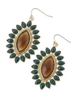 Stunning Brown / Green Starburst Jeweled Dangle Earrings
