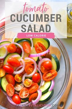 Healthy Tomato Cucumber Salad with a low calorie Italian dressing is the perfect side salad or appetizer. #healthy #tomato #cucumber #salad #lowcalorie #low #calorie #Italian #dressing #glutenfree #side #appetizer Low Calorie Salad, Healthy Low Calorie Meals, Low Calorie Recipes, Healthy Eating, Healthy Recipes, Healthy Side Dishes, Side Dish Recipes, Lunch Recipes, Appetizer Recipes