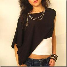DIY Clothes DIY Refashion: Sophisticated asymmetrical blouse tutorial