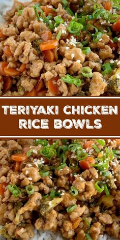 Teriyaki chicken rice bowls are a 30 minute dinner. Ground chicken, broccoli, and carrots simmer on the stove top in a delicious and simple teriyaki sauce. Teriyaki Chicken Rice Bowl, Chicken Rice Bowls, Teriyaki Bowl, Chicken Over Rice, Terriyaki Chicken Bowl, Chicken Soup, Stove Top Chicken, Asian Recipes, Healthy Recipes