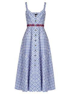Fara sleeveless stretch-cotton gingham midi dress   Saloni   MATCHESFASHION.COM US