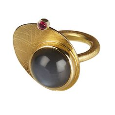 Gold ring with moonstone and ruby by Graeme McColm #Elements
