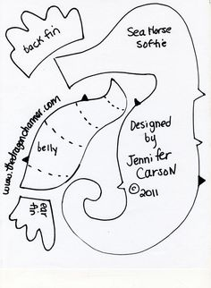 sea horse pattern for stuffed or felt toy Underwater life