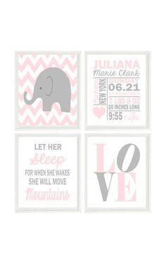 Elephant Nursery Wall Art Baby Girl Nursery by RizzleandRugee