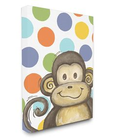 91f29040bef Monkey  amp  Polka Dots Canvas Wall Art  zulily  zulilyfinds Office Canvas