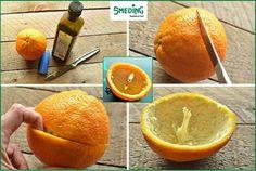 MAAK EEN KAARS VAN EEN SINAASAPPELl!  Snij de schil van de sinaasappel los en zet je duim erin om het vruchtvlees eruit te halen. Zorg dat het witte merg van de sinaasappel blijft zitten. vul die helft, voor de helft met olijf olie. Eventueel kan je de andere kant als deksel gebruiken. Snij er dan een gat of een ster in en zet hem op de onderste helft. de kamer gaat heerlijk naar sinaasappel ruiken. Je kan natuurlijk ook een beetje vruchtvlees laten zitten voor extra sinasappel geur.
