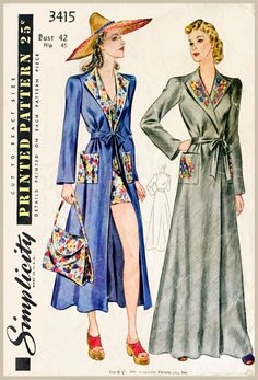 30s 1930s vintage women's sewing pattern beach cover up frock coat & tote bag bust 42 b42 reproduction repro