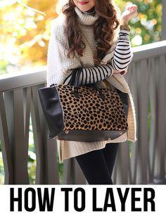 Stripe shirt, cream poncho, leopard bag = Fall
