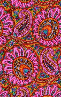 Bright and beautiful paisley colours Pretty Patterns, Beautiful Patterns, Color Patterns, Motifs Textiles, Textile Patterns, Paisley Design, Paisley Print, Paisley Fabric, Pattern Art