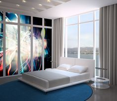 Aluminum prints in bedroom. abstract art, wall design, wall panels