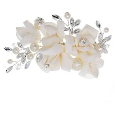 Bridal Ivory Floral Hair Clip with Rhinestone Accents ($55) ❤ liked on Polyvore featuring accessories, hair accessories, bridal, hair, rhinestone tiara, ivory hair accessories, hair clip accessories, bridal hair accessories and floral hair clips