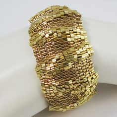 Large Golden Ripples Peyote Cuff 2577 by SandFibers on Etsy