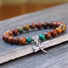 Yoga Mala Bracelet, Wrist Mala, Healing Jewelry, Buddhist Bracelet, Picasso Jasper & Malachite for Calming and protection