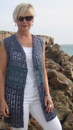Crochet Patterns Vest Looking for your next project? You& going to love Crocheted Vest by design. Gilet Crochet, Crochet Cardigan Pattern, Crochet Jacket, Crochet Blouse, Crochet Shawl, Crochet Patterns, Crochet Vests, Crochet Tops, Dress Patterns