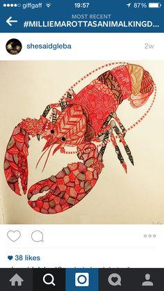 Lobster Adult ColoringColouringColoring BooksCrabsLobstersAnimal Kingdom SeafoodTropicalWonderland