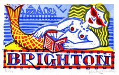 Brighton Mermaid linocut print by Mike Levy