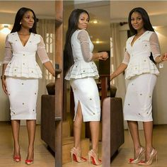 White Aso Ebi Styles : Simple Skirt And Blouse Styles .White Aso Ebi Styles : Simple Skirt And Blouse Styles Kente Styles, Latest Ankara Styles, Aso Ebi Styles, Ankara Skirt And Blouse, Ankara Dress, Ghana Fashion, African Fashion, Ankara Fashion, Women's Fashion